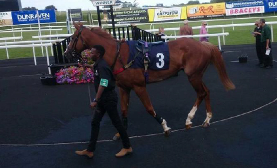 Abdul leading up for the very first time at Chepstow, August 2016