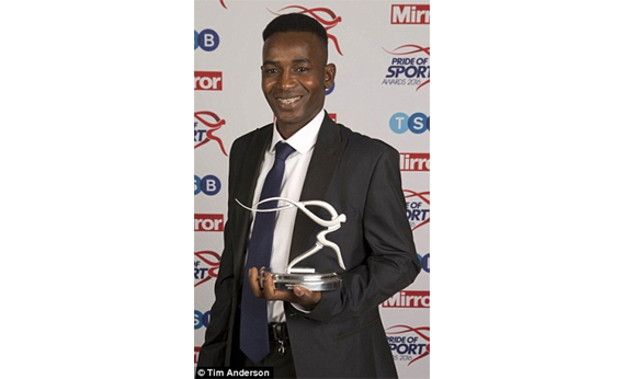 'Young Achiever Award' at the Daily Mirror Pride of Sport Award ceremony, December 2016